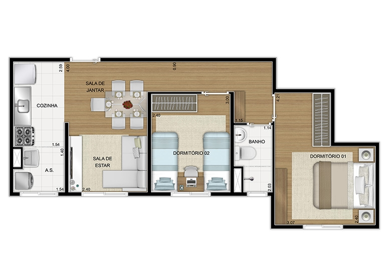 Planta 2 dorms 47m², final 8 - perspectiva ilustrada - Vila Arbori Cores