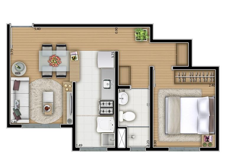 1 dorm. 35.m² - perspectiva ilustrada