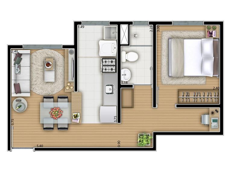 1 dorm. 36.m² - perspectiva ilustrada