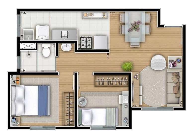 2 dorms. 42m² - perspectiva ilustrada
