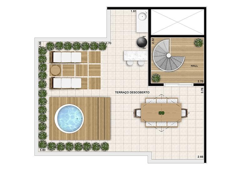 Cobertura duplex superior 121m² - perspectiva ilustrada