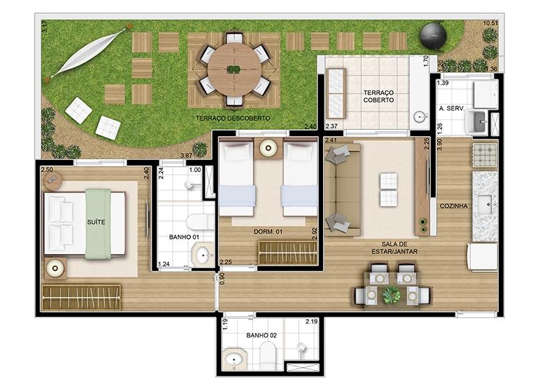 Giardino c/ suíte 76m² - perspectiva ilustrada