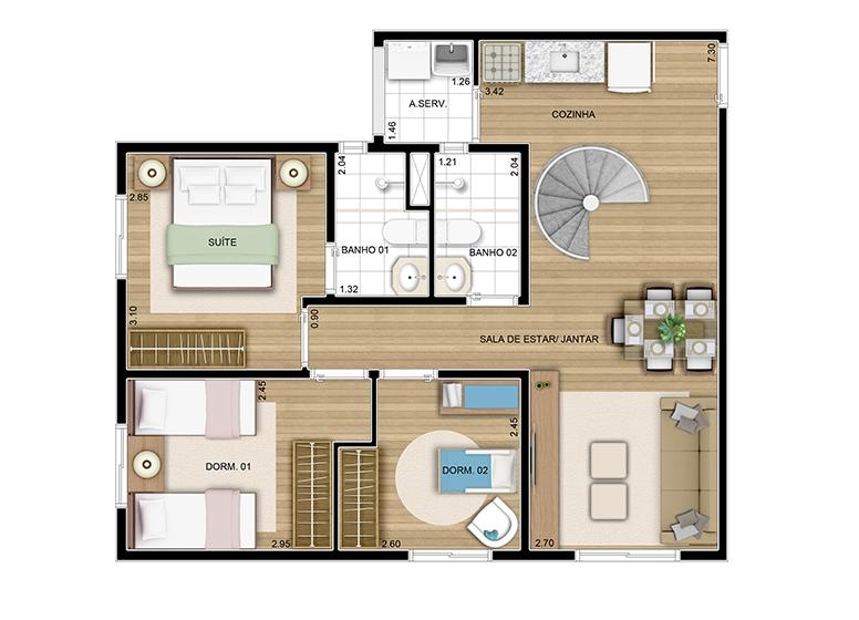 Cobertura duplex inferior 121m² - perspectiva ilustrada