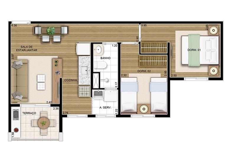 Planta 02 dorms 49m² - perspectiva ilustrada
