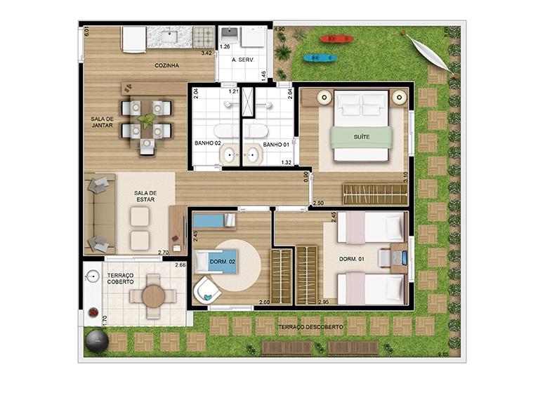 Giardino 03 dorms c/ suíte 90m² - perspectiva ilustrada