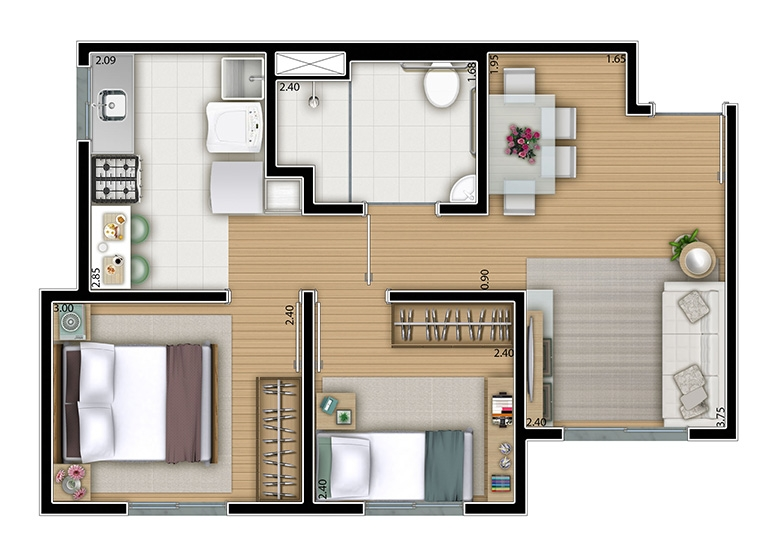 2 dorms. 42m² - perspectiva ilustrada - Certto Jaraguá - Felicidade