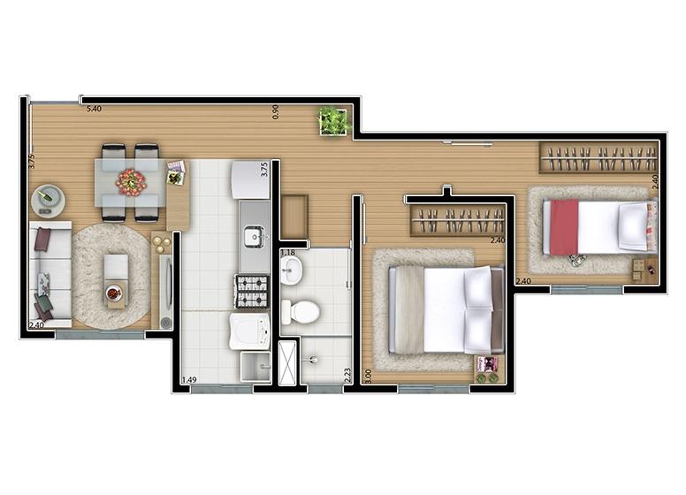 2 dorms. 43m² - perspectiva ilustrada
