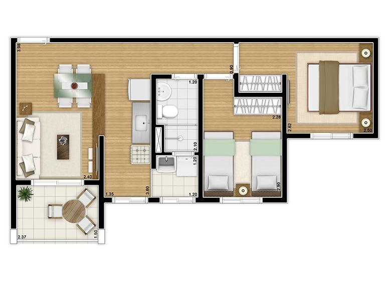 Planta 2 dorms 48,52m² - perscpectiva ilustrada