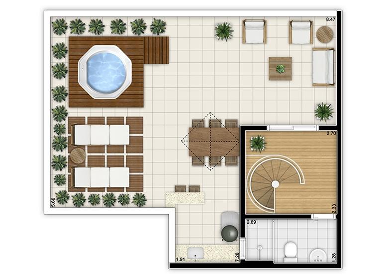 Cobertura duplex superior 3 dorms - perspectiva ilustrada - Fatto Jardim Botânico - Girassol