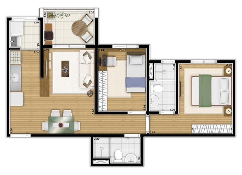Planta 2 dorms c/ suíte 52m² - perspectiva ilustrada