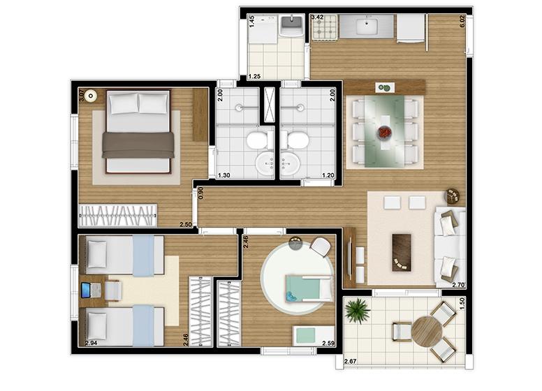 Planta 3 dorms c/ suíte 61m² - perspectiva ilustrada