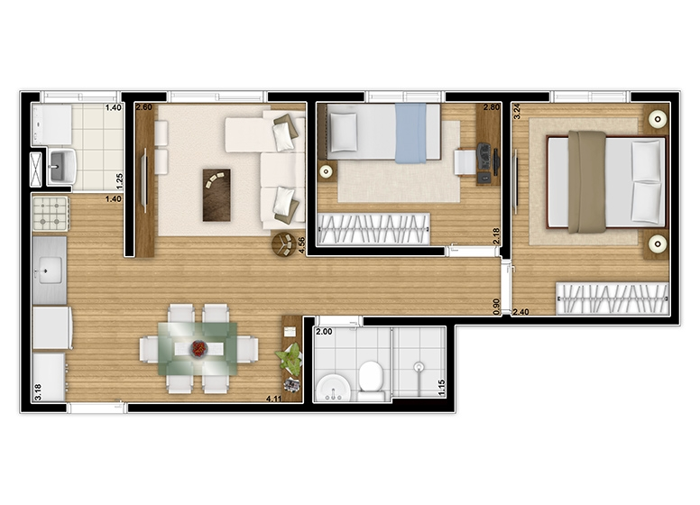 Planta 2 dorms. 43,39m² - perspectiva ilustrada
