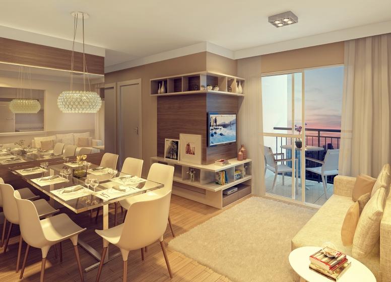 Living - 51.29m² - perspectiva ilustrada