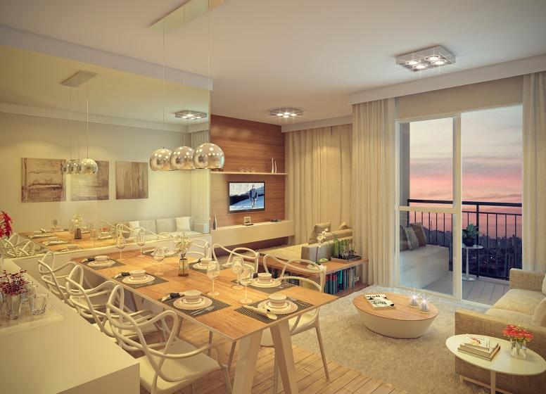 Living sala ampliada - 62.36m² - perspectiva ilustrada - Praticidade by Plano&Plano