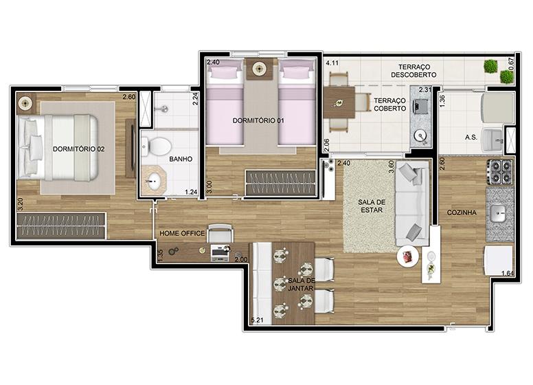 Giardino 2 dorms 54,83m² - perspectiva ilustrada - Praticidade by Plano&Plano
