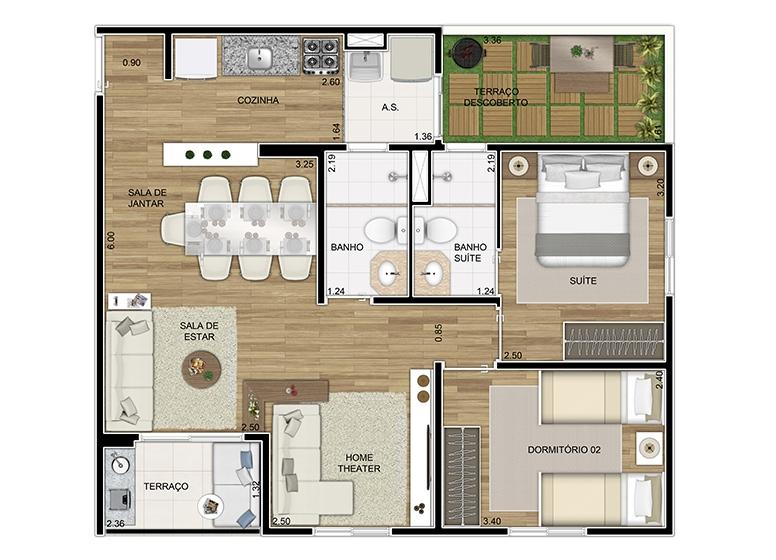 Giardino 3 dorms sala ampliada 68,53m² - perspectiva ilustrada