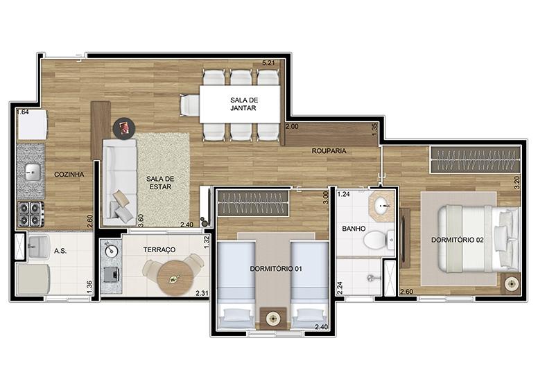 Planta 2 dorms 51,29m² - perspectiva ilustrada