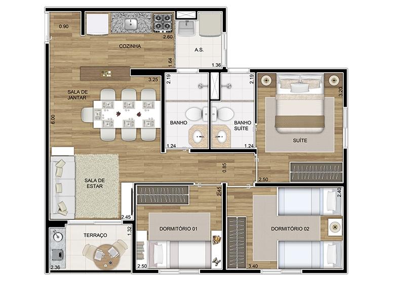 Planta 3 dorms 62,36m² - perspectiva ilustrada
