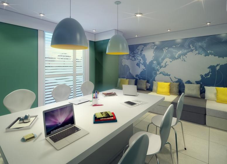 Sala de estudo - perspectiva ilustrada