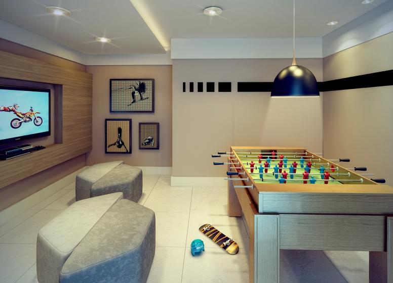 Salão de jogos juvenil - perspectiva ilustrada