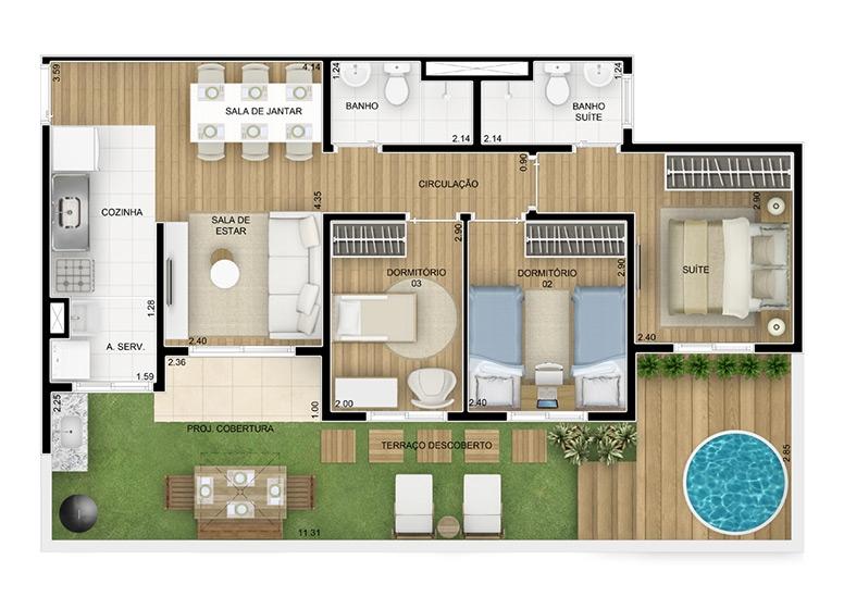 Giardino 3 dorms c/ suíte 84,13m² - perspectiva ilustrada