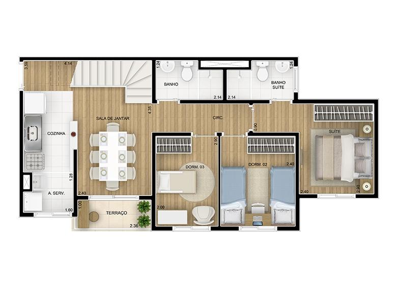 Cobertura duplex inferior 114,79m² - perspectiva ilustrada