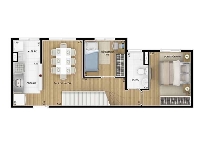 Cobertura duplex inferior 84,11m² - perspectiva ilustrada