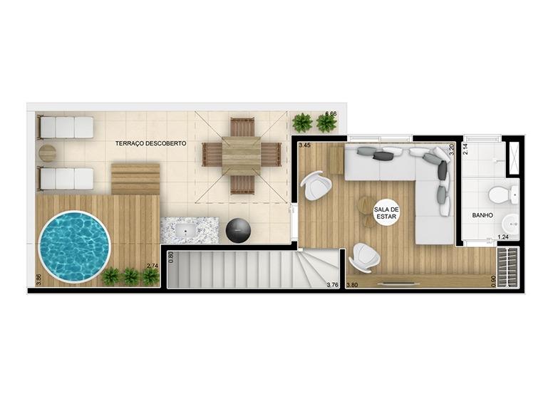 Cobertura duplex superior 84,11m² - perspectiva ilustrada