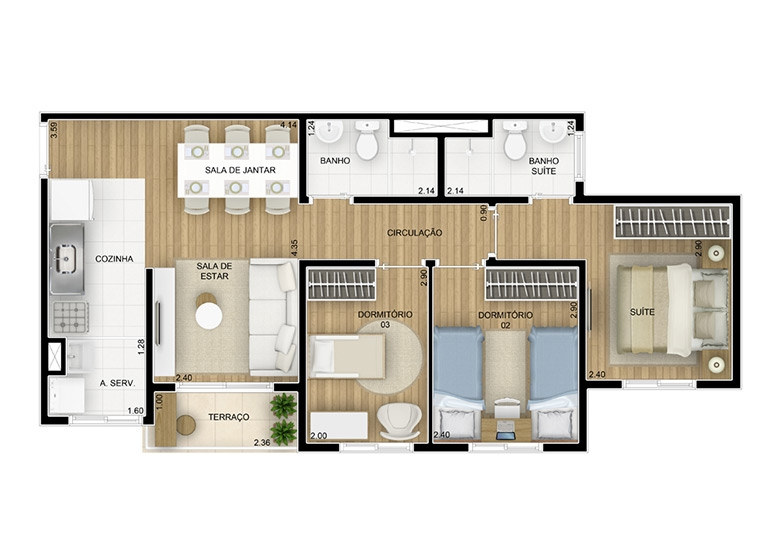 Planta 3 dorms c/ suíte 57,66m² - perspectiva ilustrada
