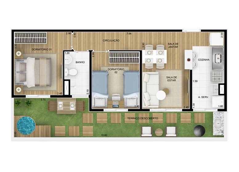 Giardino 2 dorms 61,77m² - perspectiva ilustrada - Inspire Mauá Sonhos