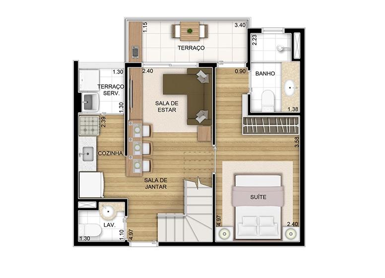 Duplex inferior 1 dorm. - 82,41m² - perspectiva ilustrada