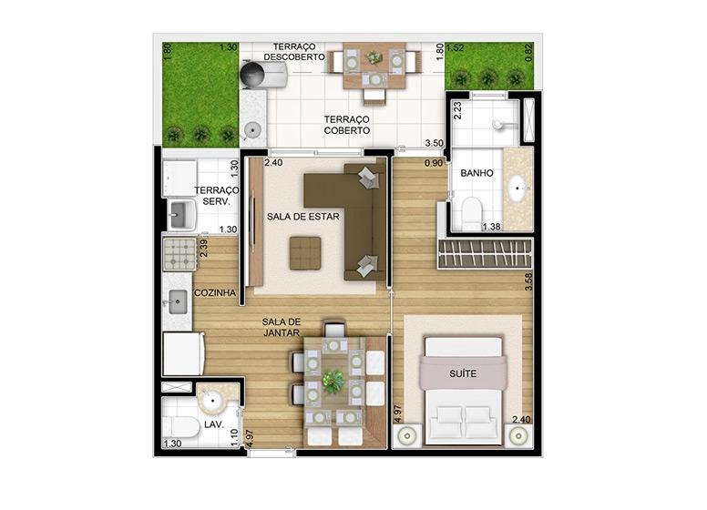 Giardino 1 dorm. - 46,46m² - perspectiva ilustrada