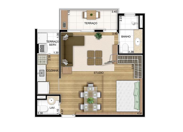 Studio - 39,90m² - perspectiva ilustrada