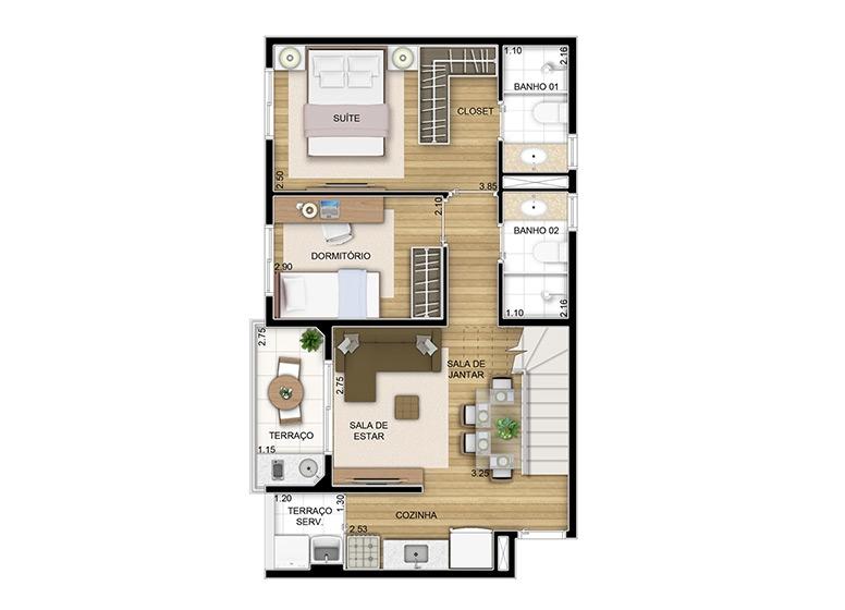 Duplex inferior 2 dorms. - 97,54m² - perspectiva ilustrada