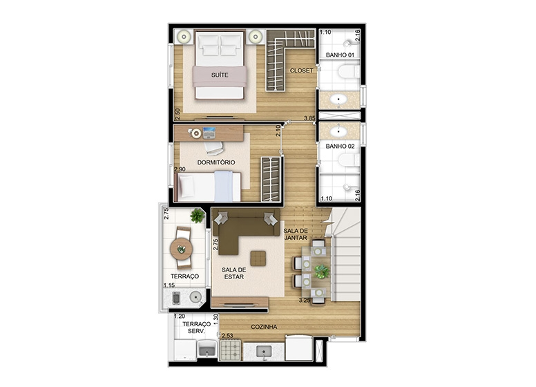 Duplex inferior 2 dorms. - 97,54m² - perspectiva ilustrada - Perfil by Plano&Plano