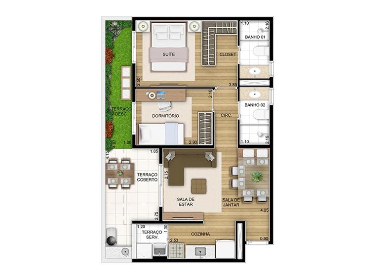 Giardino 2 dorms. - 58m² - perspectiva ilustrada