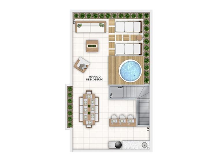 Duplex superior - 97,54m² - perspectiva ilustrada
