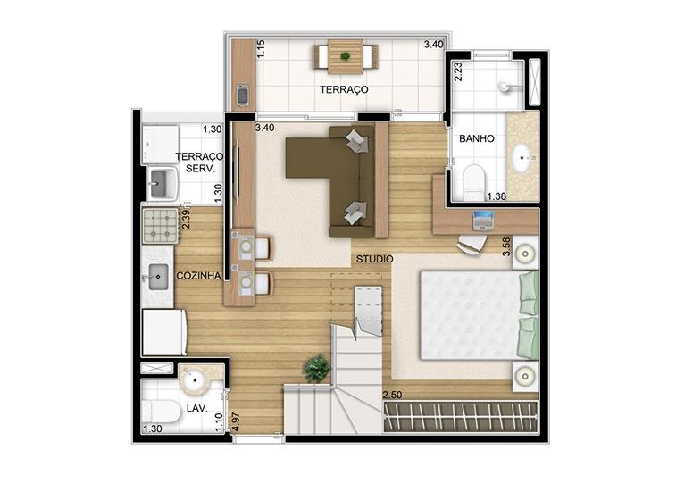 Duplex inferior opção studio - 82,41m² - perspectiva ilustrada