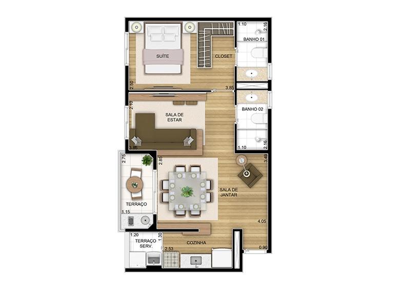 Sala ampliada - 49,05m² - perspectiva ilustrada