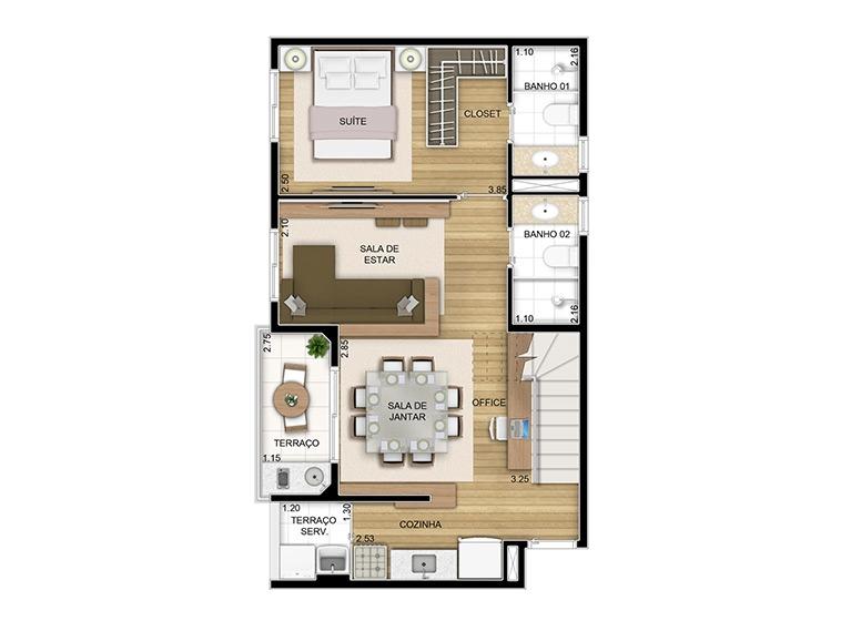 Duplex inferior sala ampliada - 97,54m² - perspectiva ilustrada
