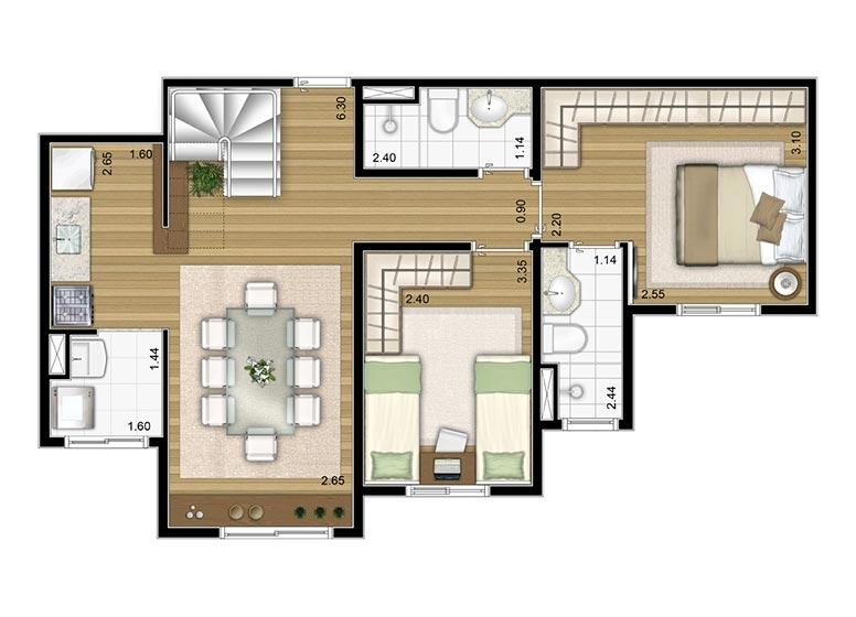 2 Dorms. Duplex Inferior 109,03m² - perspectiva ilustrada