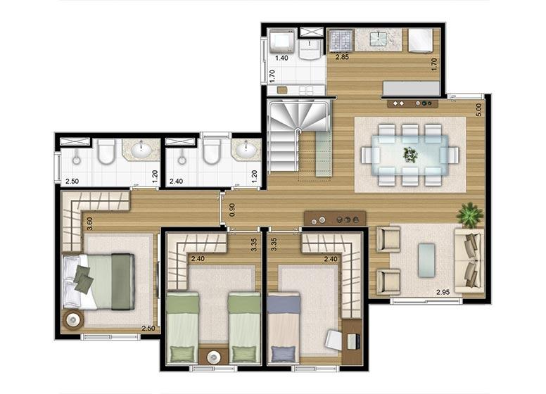 3 Dorms. Duplex inferior 133,80m² - perspectiva ilustrada