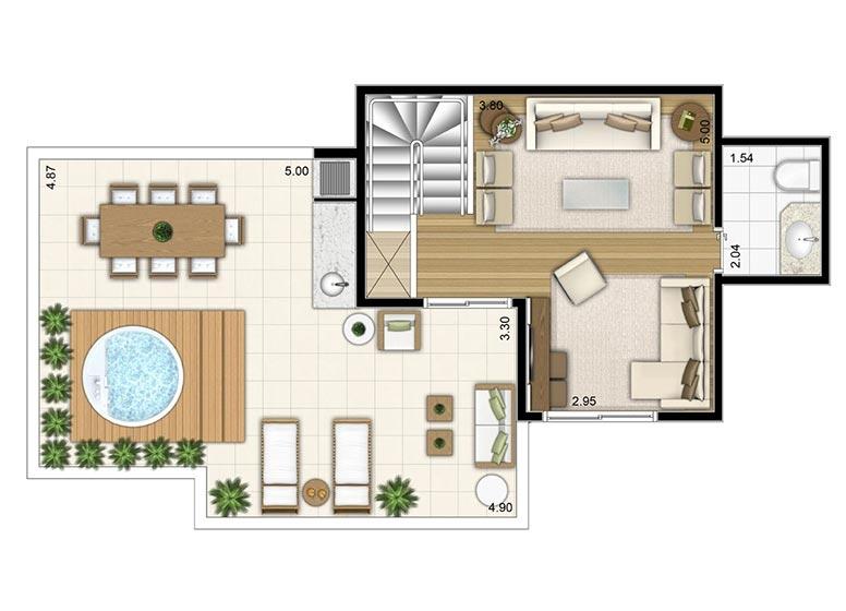3 Dorms. Duplex Superior 133,80m² - perspectiva ilustrada