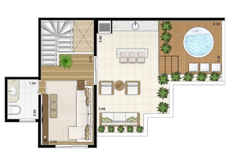 2 Dorms. Duplex Superior 109,03m² - perspectiva ilustrada