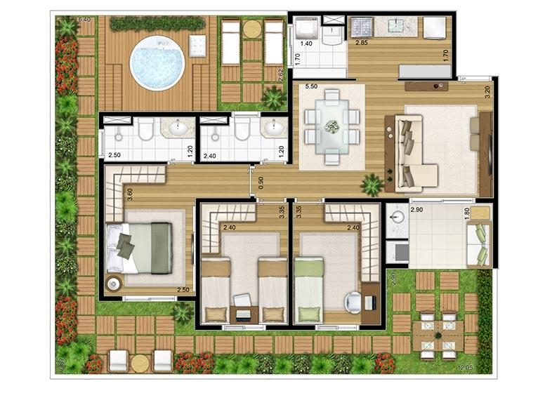 3 Dorms. Giardino 121,58m² - perspectiva ilustrada