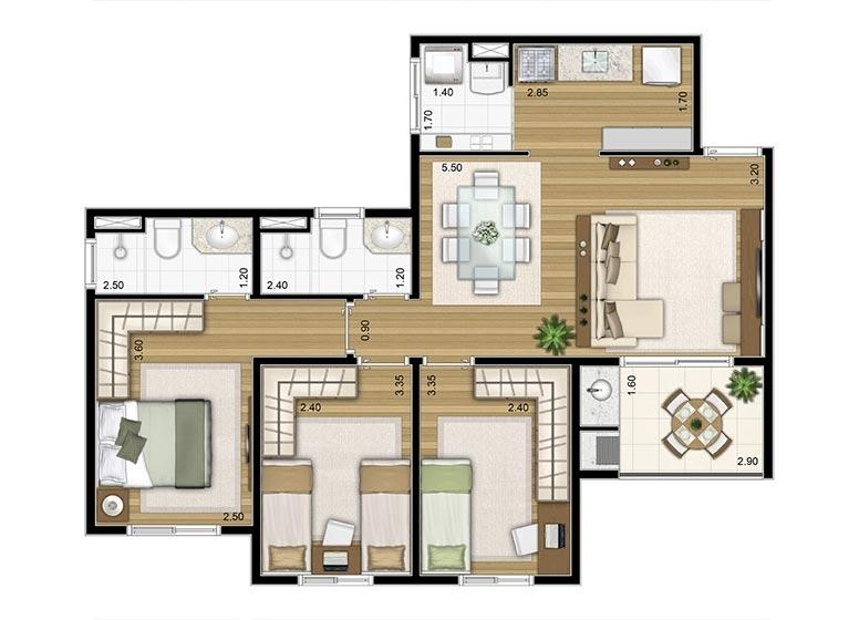 3 Dorms. 72,03m² - perspectiva ilustrada