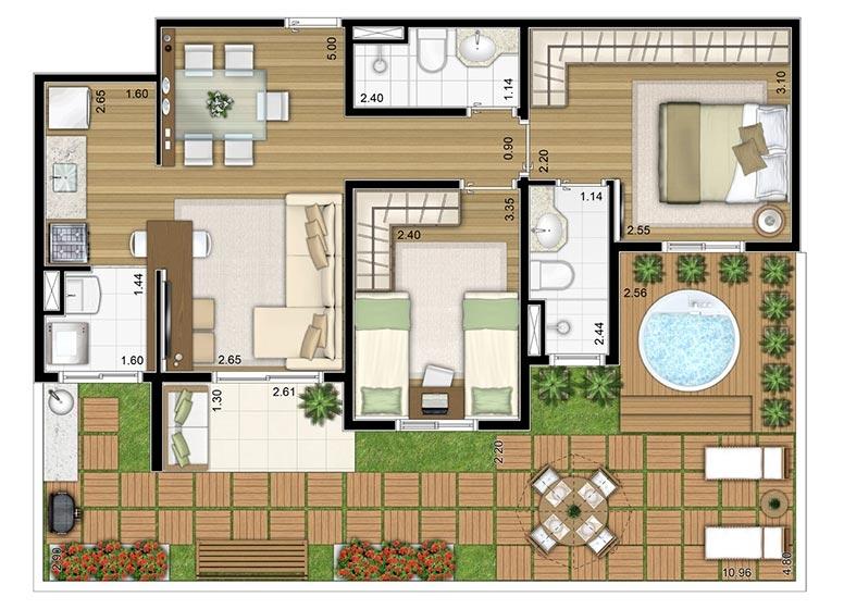2 Dorms. Giardino 90,84m² - perspectiva ilustrada