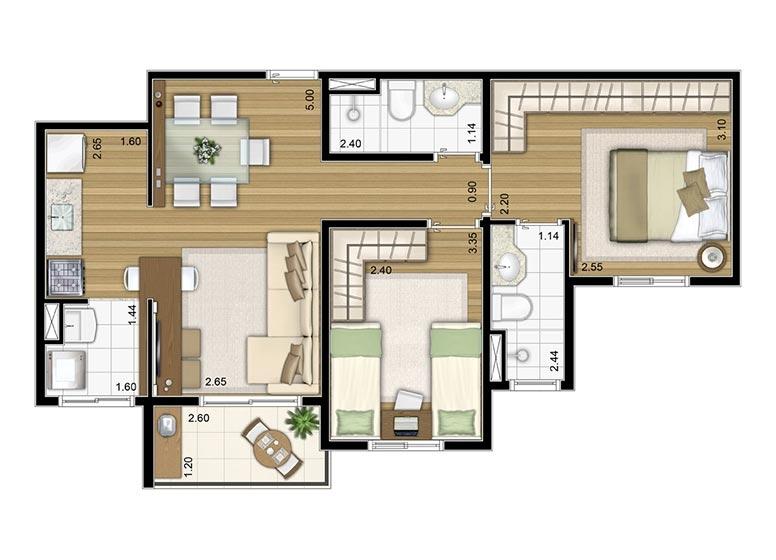 2 Dorms. 57,41m² - perspectiva ilustrada