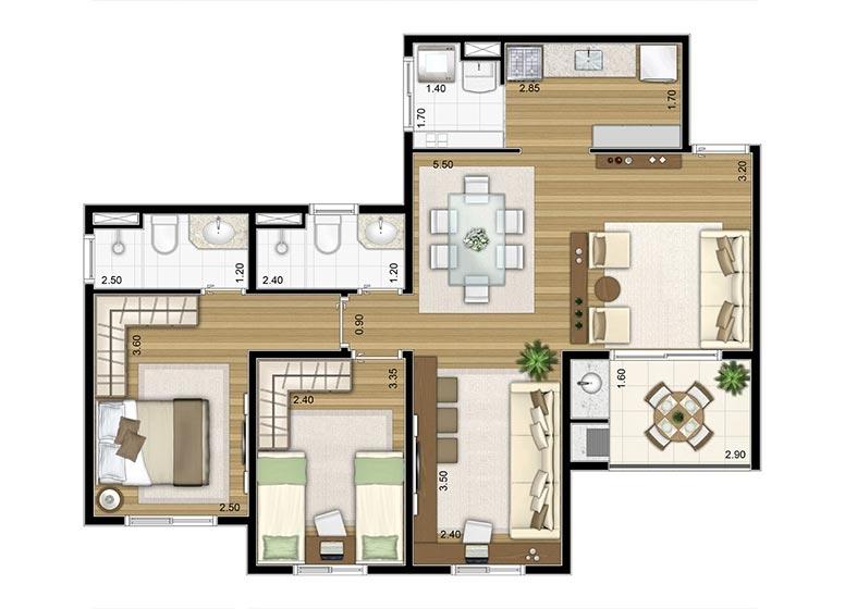 2 Dorms. 72,03m² Sala Ampliada - perspectiva ilustrada - Fatto Torres de São José