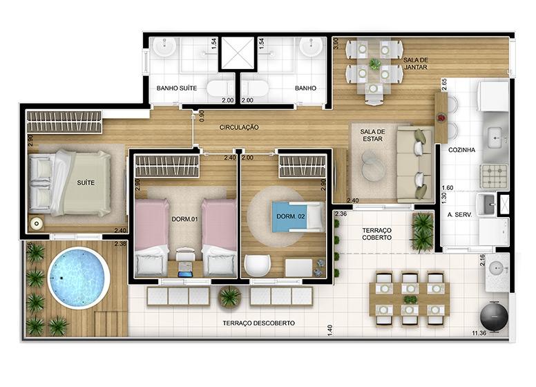 Giardino 3 dorms - 78m² (2/3)- perspectiva ilustrada